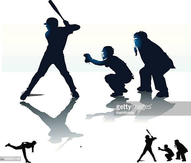 bildbanksillustrationer, clip art samt tecknat material och ikoner med baseball batter batting with catcher & umpire - at bat - basebollslag