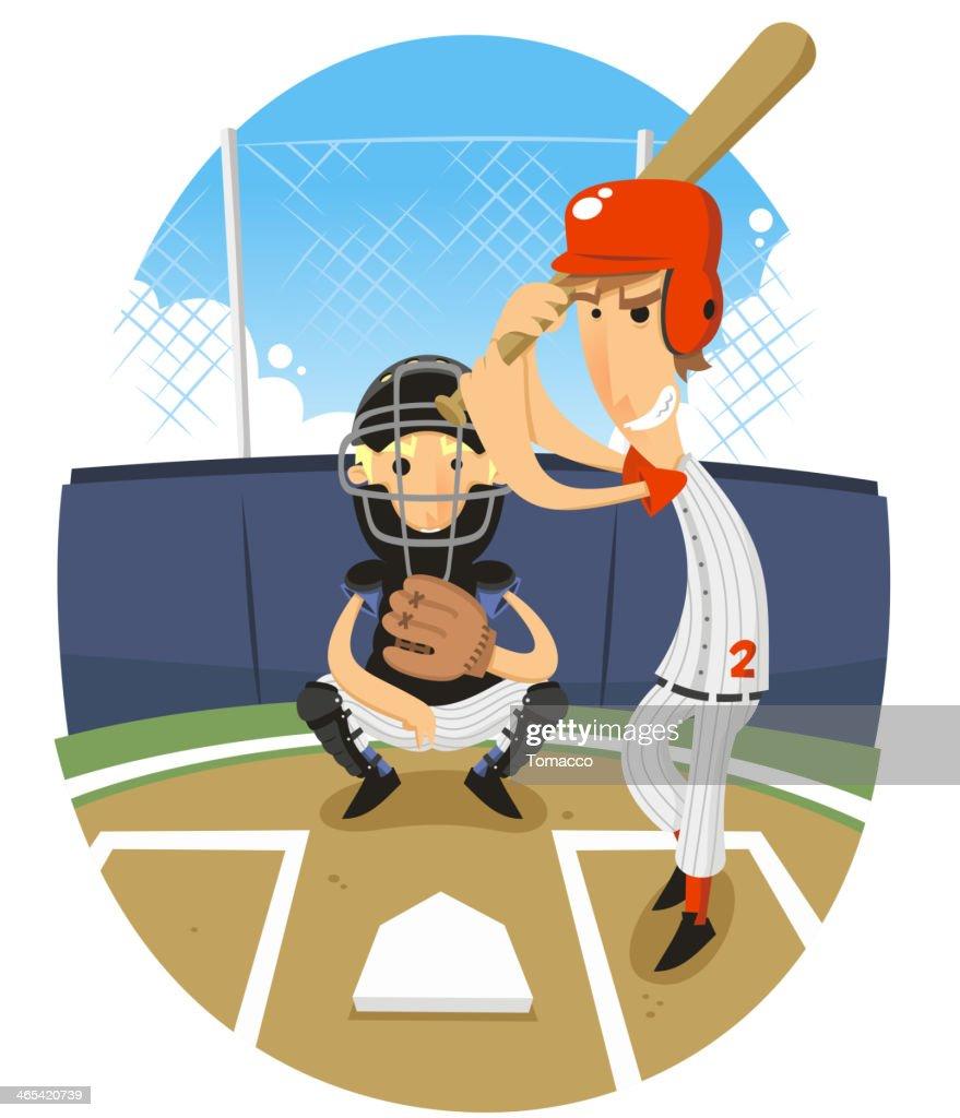 Baseball Batter Batting with Catcher