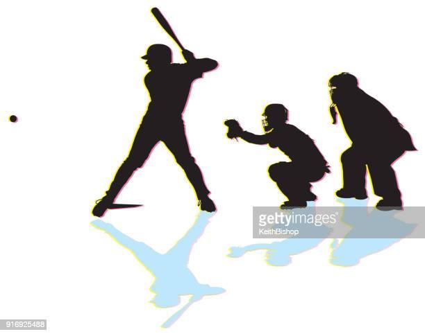illustrations, cliparts, dessins animés et icônes de juge-arbitre de pâte, catcher, baseball, frappeur - arbitre de baseball