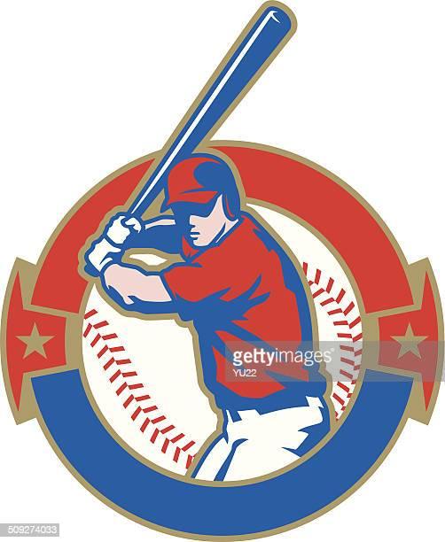 bildbanksillustrationer, clip art samt tecknat material och ikoner med baseball batter crest - basebollslag