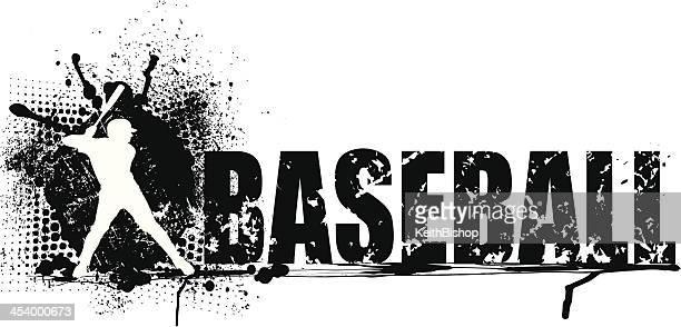 bildbanksillustrationer, clip art samt tecknat material och ikoner med baseball batter grunge graphic background - basebollslag