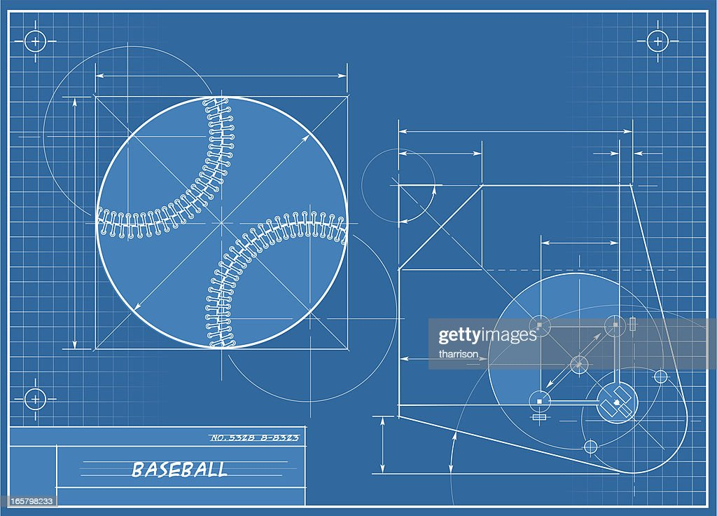 Baseball blueprint vector art getty images baseball blueprint vector art malvernweather Image collections