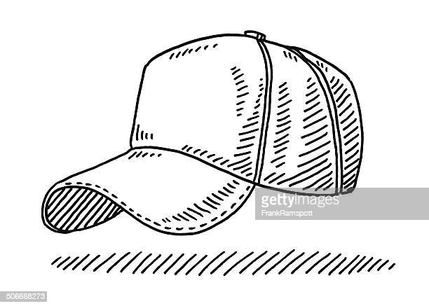 baseball cap drawing - cap hat stock illustrations, clip art, cartoons, & icons