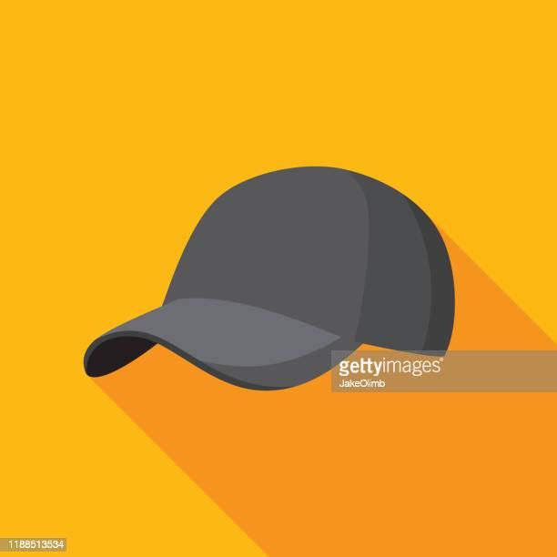 illustrazioni stock, clip art, cartoni animati e icone di tendenza di baseball cap icon flat - berretto da baseball