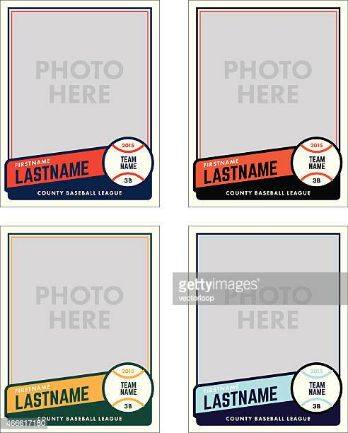 baseball card vector template - baseball sport stock illustrations