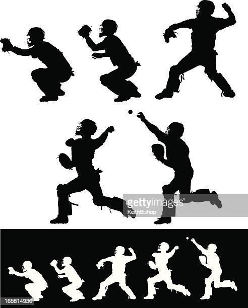 baseball catcher throwing ball - baseball catcher stock illustrations