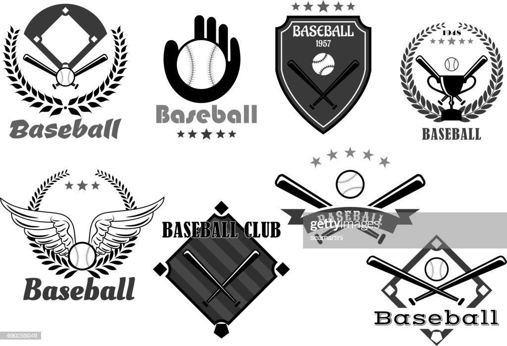 Baseball club vector icons or championship symbols