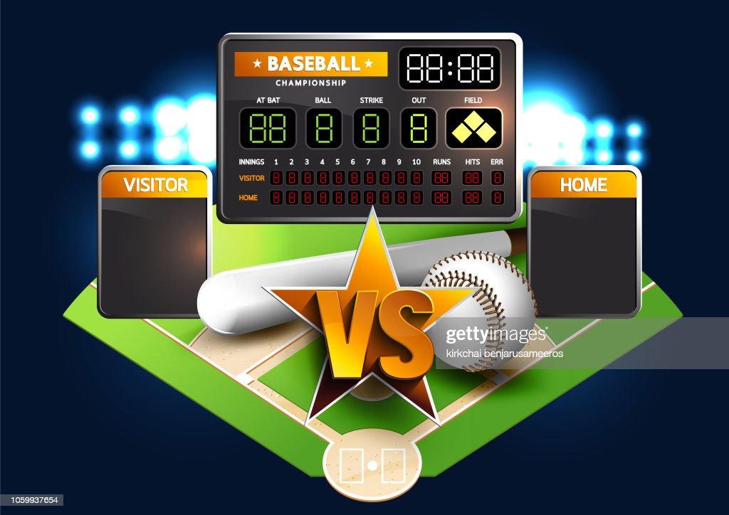 Baseball Diamond and Baseball Scoreboard