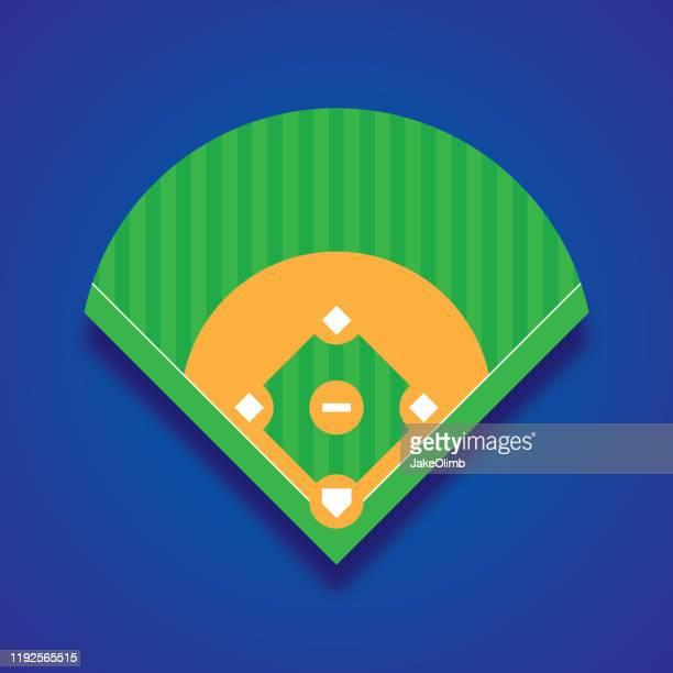 baseball diamond icon flat - baseball diamond stock illustrations