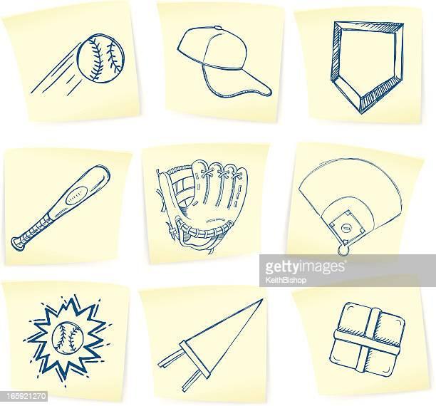 baseball doodles on sticky notes - base sports equipment stock illustrations
