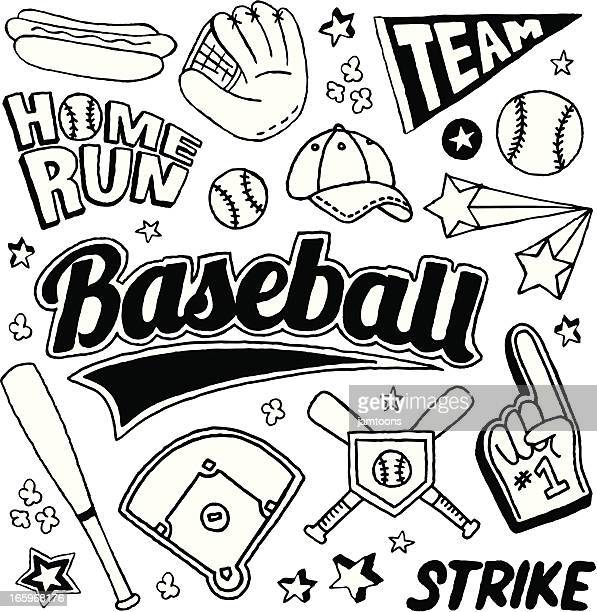 baseball doodles - baseball stock illustrations, clip art, cartoons, & icons