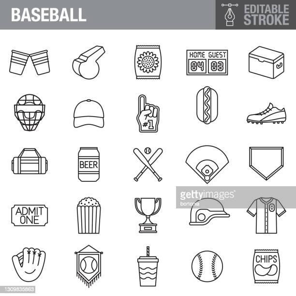 ilustraciones, imágenes clip art, dibujos animados e iconos de stock de conjunto de iconos de trazo editable de béisbol - pelota de béisbol