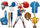 baseball elements in set