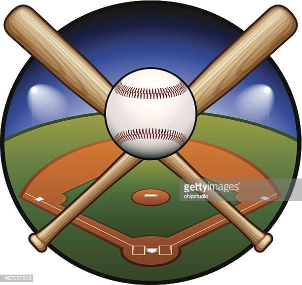 baseball emblem - baseball bat stock illustrations, clip art, cartoons, & icons