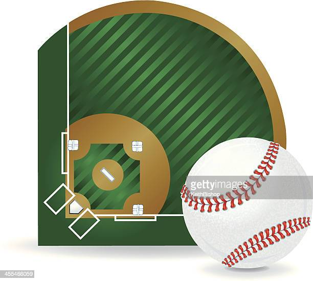 Baseball Field and Ball Background