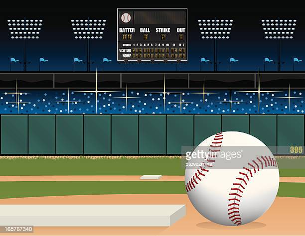 baseball field and scoreboard - baseball stock illustrations, clip art, cartoons, & icons