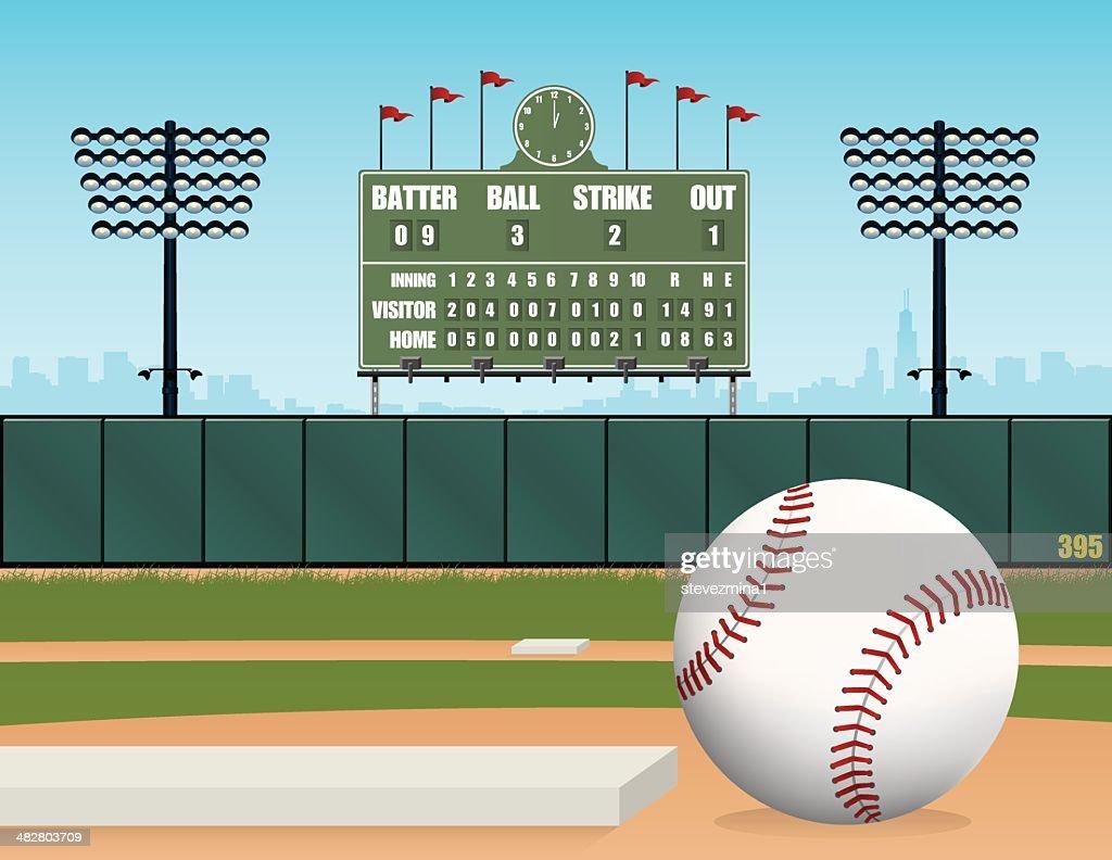 Baseball Field, Ball, Stadium and Retro Scoreboard Vector Illustration
