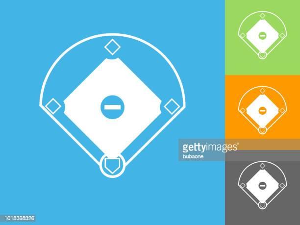 baseball field flat icon on blue background - baseball diamond stock illustrations