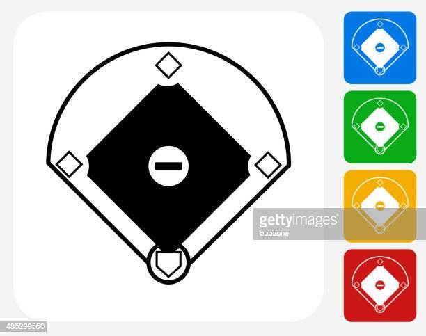 Baseball Field Icon Flat Graphic Design