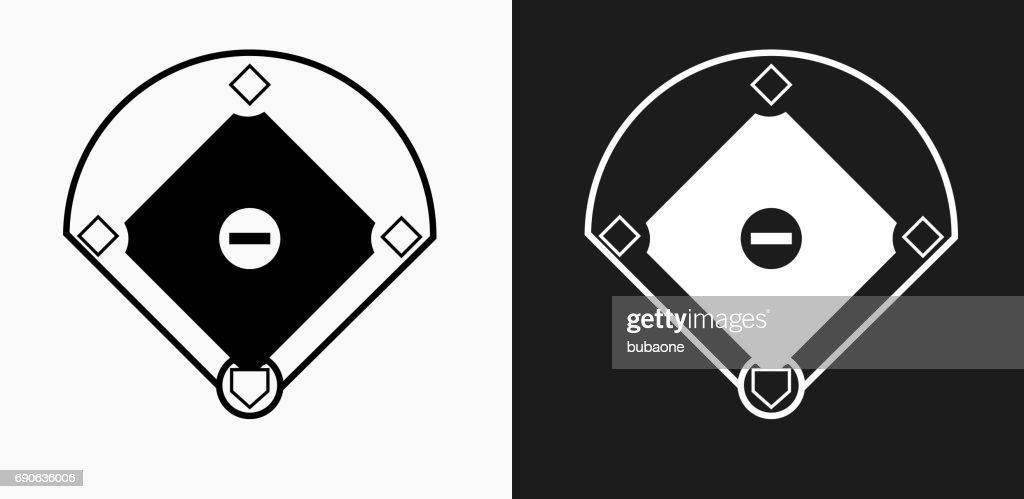 Baseball Field Icon on Black and White Vector Backgrounds
