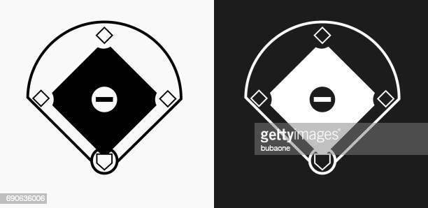 baseball field icon on black and white vector backgrounds - baseball diamond stock illustrations
