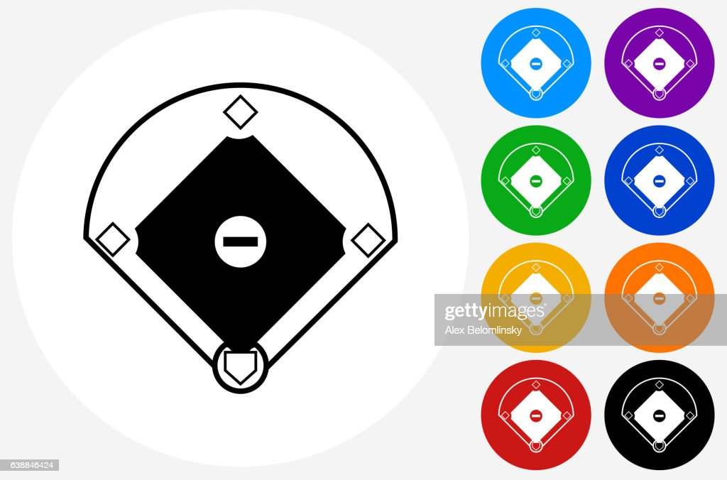 Baseball Field Icon on Flat Color Circle Buttons