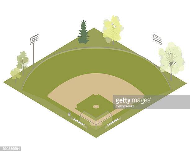baseball field illustration - mathisworks architecture stock illustrations