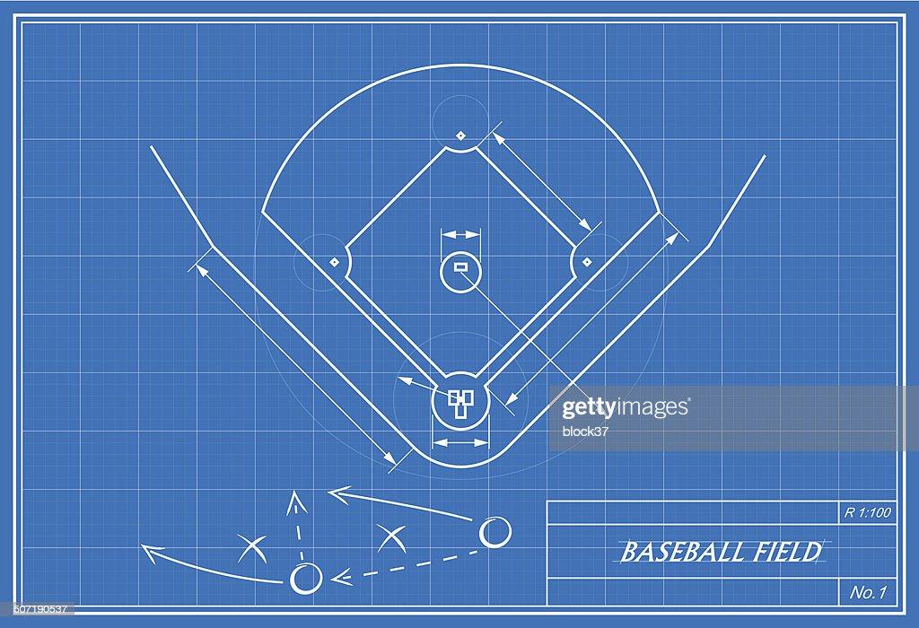 baseball field on blueprint