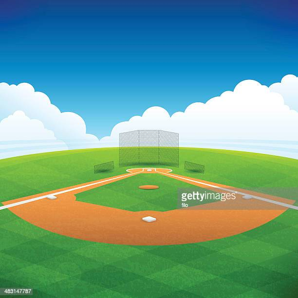 baseball field - baseball stock illustrations, clip art, cartoons, & icons
