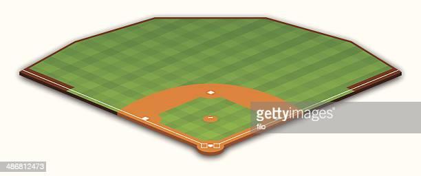baseball field - baseball diamond stock illustrations