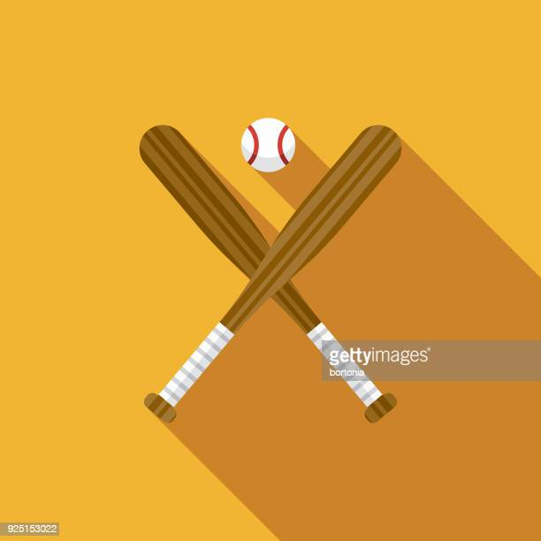 baseball flat design usa icon with side shadow - baseball stock illustrations, clip art, cartoons, & icons