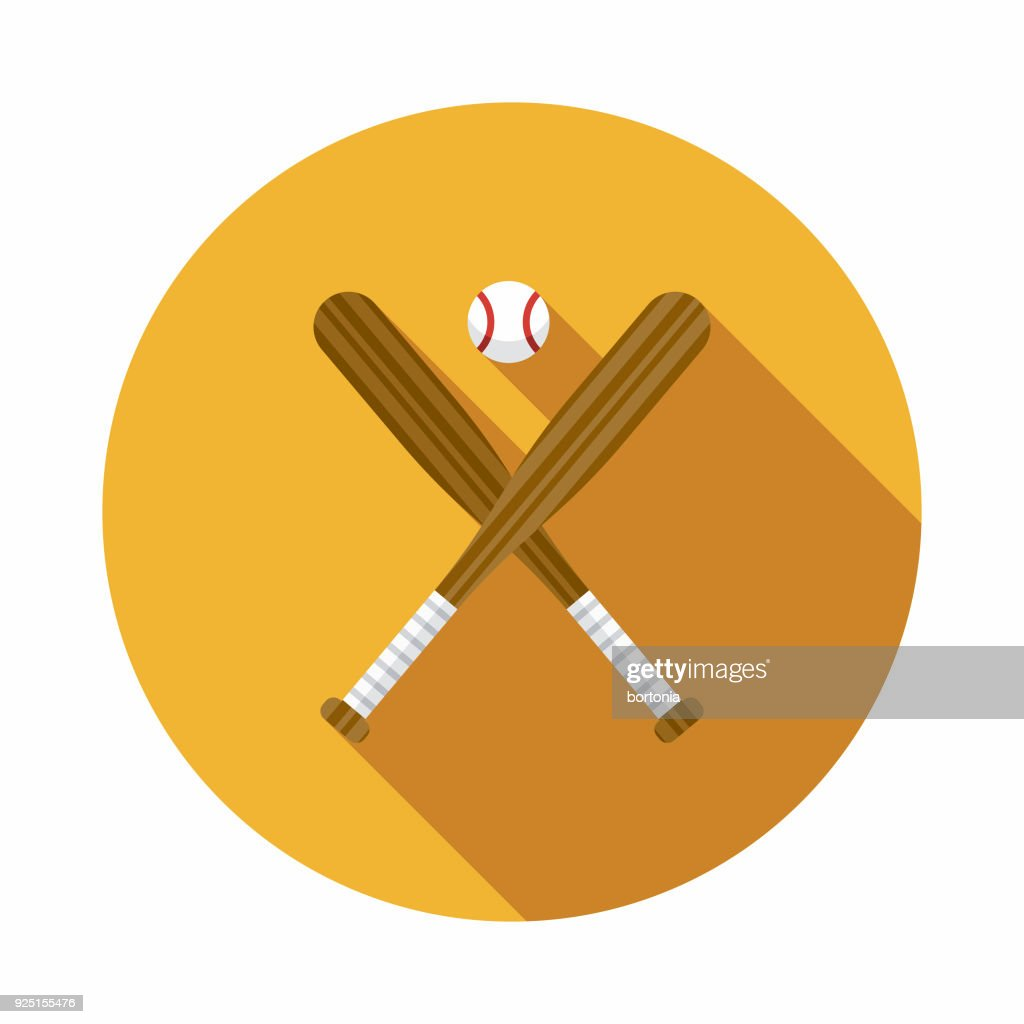 Baseball Flat Design USA Icon with Side Shadow