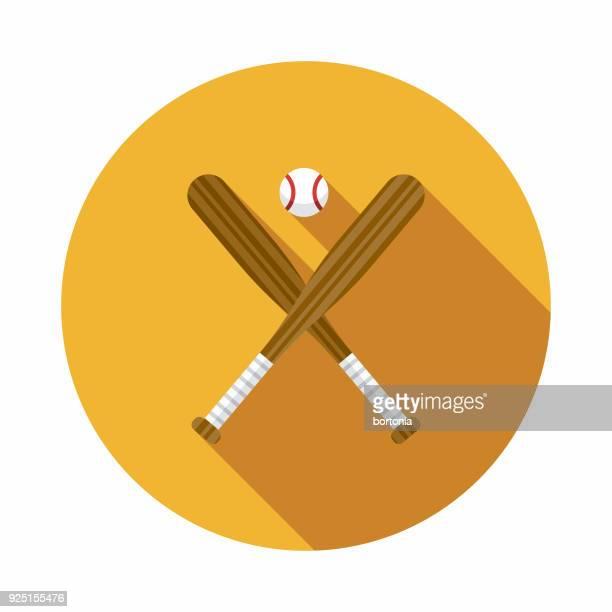 baseball flat design usa icon with side shadow - baseball bat stock illustrations, clip art, cartoons, & icons
