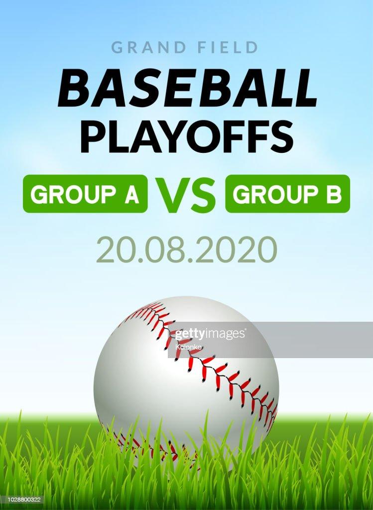 Baseball flyer poster design game tournament. Vector baseball banner sport invitation illustration