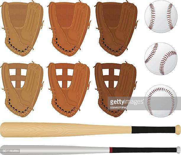 baseball gloves, bats and balls - sports glove stock illustrations