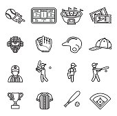 Baseball Icon set. Line Style stock vector.