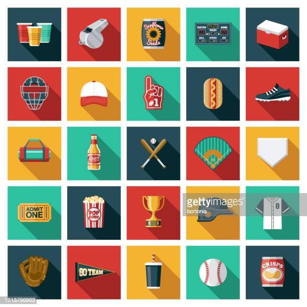 baseball icon set - base sports equipment stock illustrations