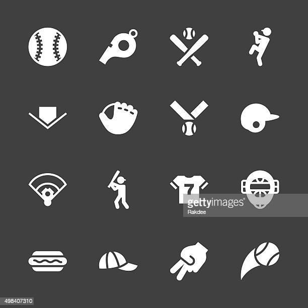 baseball icon - white series - home run stock illustrations