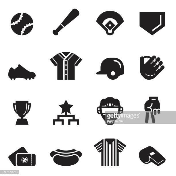 baseball icons [black edition] - baseball glove stock illustrations