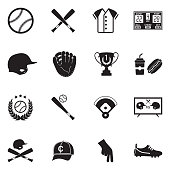 Baseball Icons. Black Flat Design. Vector Illustration.