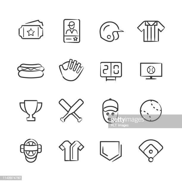 野球のアイコン-スケッチシリーズ - スポーツ ホームベース点のイラスト素材/クリップアート素材/マンガ素材/アイコン素材