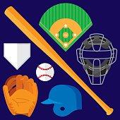 Baseball Items Flat