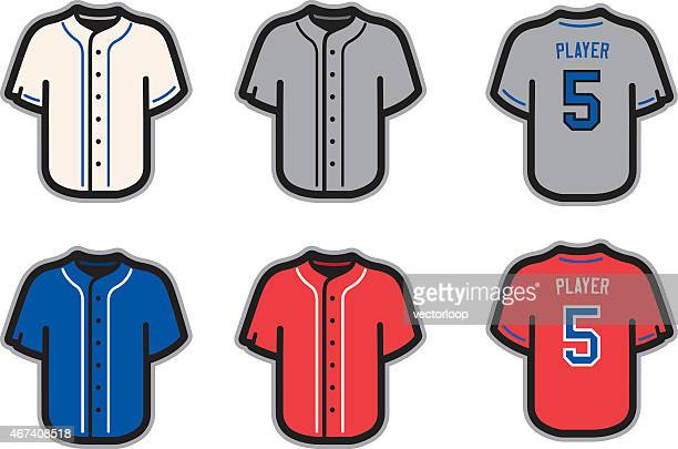 Baseball jersey template ideas in white, gray, blue and red