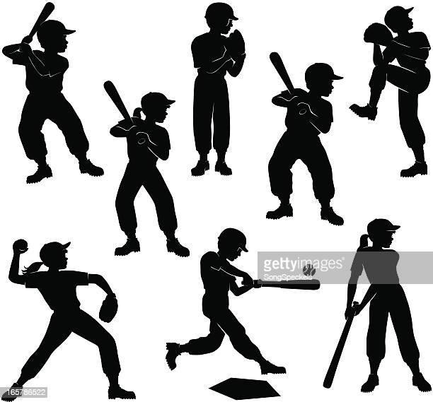ilustraciones, imágenes clip art, dibujos animados e iconos de stock de siluetas de los niños de béisbol - bate de béisbol