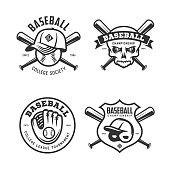 Baseball labels badges emblems set. Vector vintage illustration.