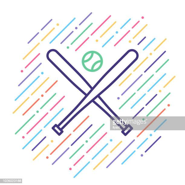 baseball line icon - team sport stock illustrations