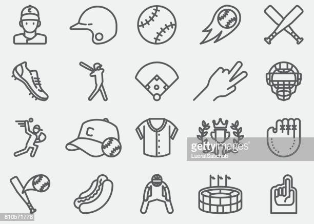 baseball line icons - team sport stock illustrations
