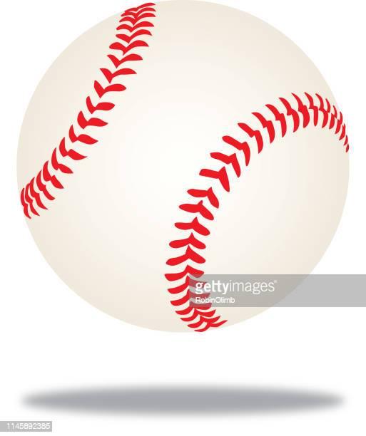 baseball midair shadow icon - baseball ball stock illustrations