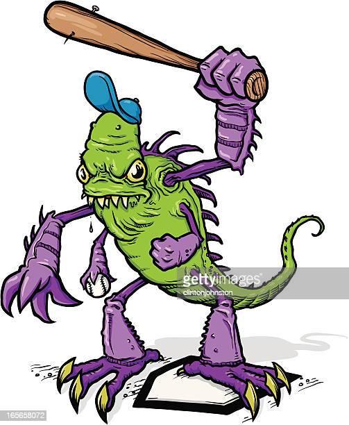baseball monster - animal saliva stock illustrations, clip art, cartoons, & icons