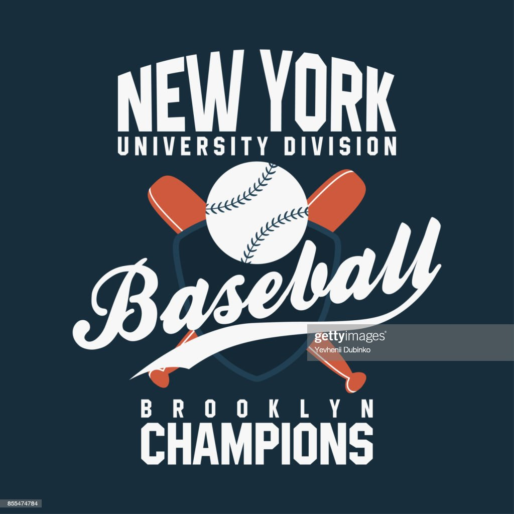 Baseball, New York. Vintage typography for t-shirt graphics. Ball with bats and shield